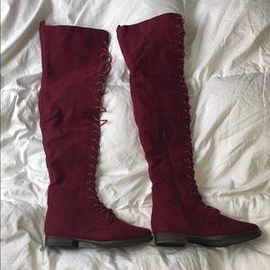 Size 7 maroon thigh high boots - NEVER BEEN WORN
